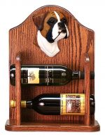 Boxer natural Dog Wood Wine Rack Bottle Holder Figure Fawn