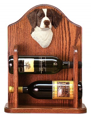 Brittany Dog Wood Wine Rack Bottle Holder Figure Liver 1