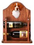 Brittany Dog Wood Wine Rack Bottle Holder Figure Orange