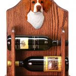 Brittany Dog Wood Wine Rack Bottle Holder Figure Orange 1