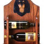 Cavalier Charles Dog Wood Wine Rack Bottle Holder Figure Blk/Tan 1