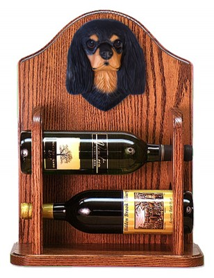 Cavalier Charles Dog Wood Wine Rack Bottle Holder Figure Blk/Tan 1