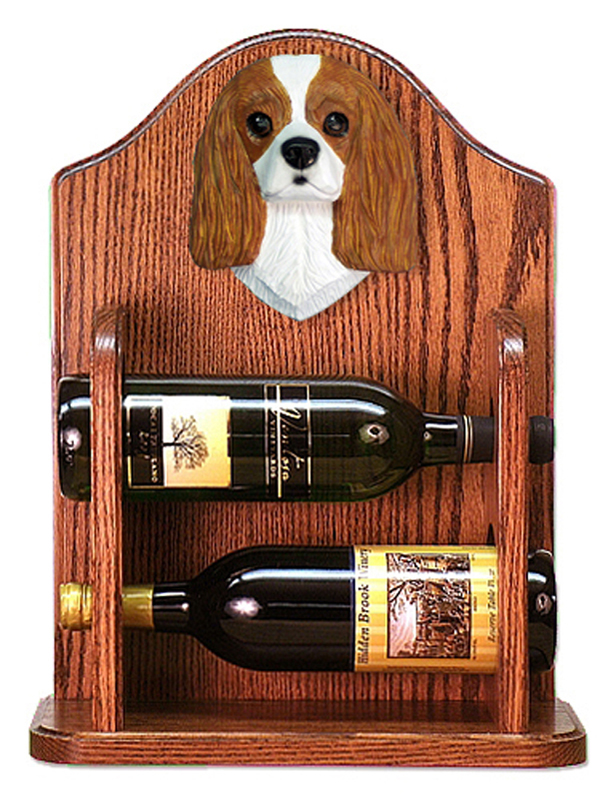Cavalier Charles Dog Wood Wine Rack Bottle Holder Figure Blen
