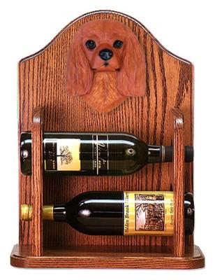 Cavalier Charles Dog Wood Wine Rack Bottle Holder Figure Ruby