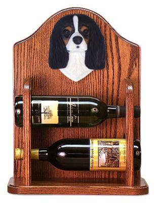 Cavalier Charles Dog Wood Wine Rack Bottle Holder Figure Tri