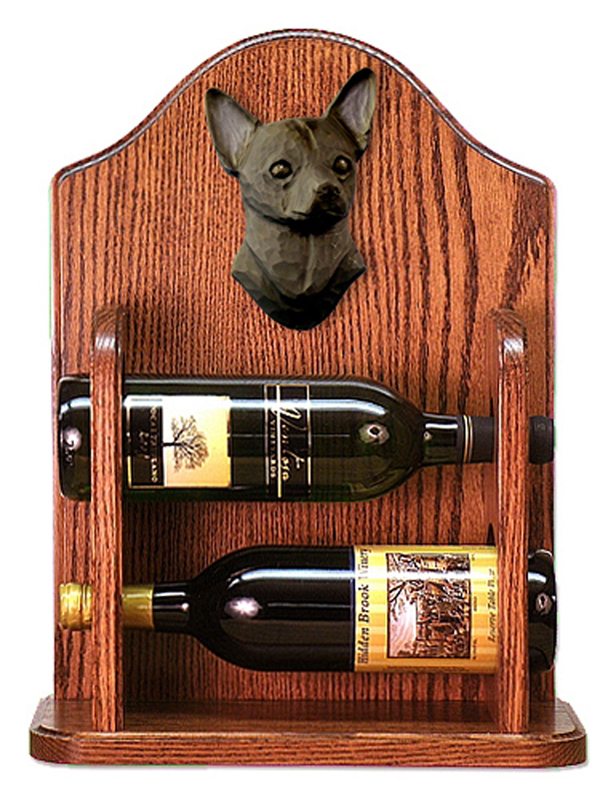 Chihuahua Dog Wood Wine Rack Bottle Holder Figure Blk