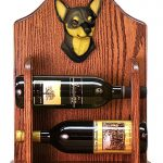 Chihuahua Dog Wood Wine Rack Bottle Holder Figure Blk/Tan 1
