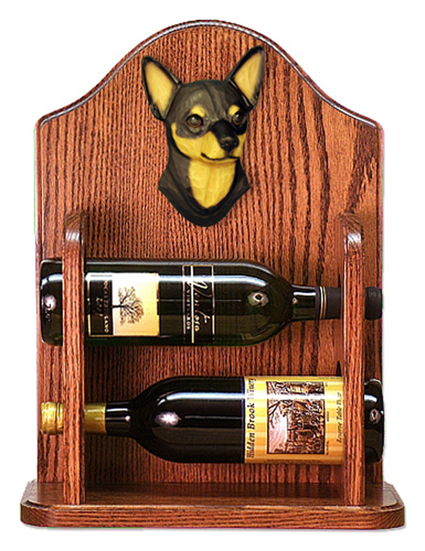 Chihuahua Dog Wood Wine Rack Bottle Holder Figure Blk/Tan