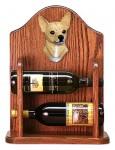 Chihuahua Dog Wood Wine Rack Bottle Holder Figure Fawn