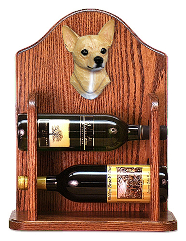 Chihuahua Dog Wood Wine Rack Bottle Holder Figure Fawn