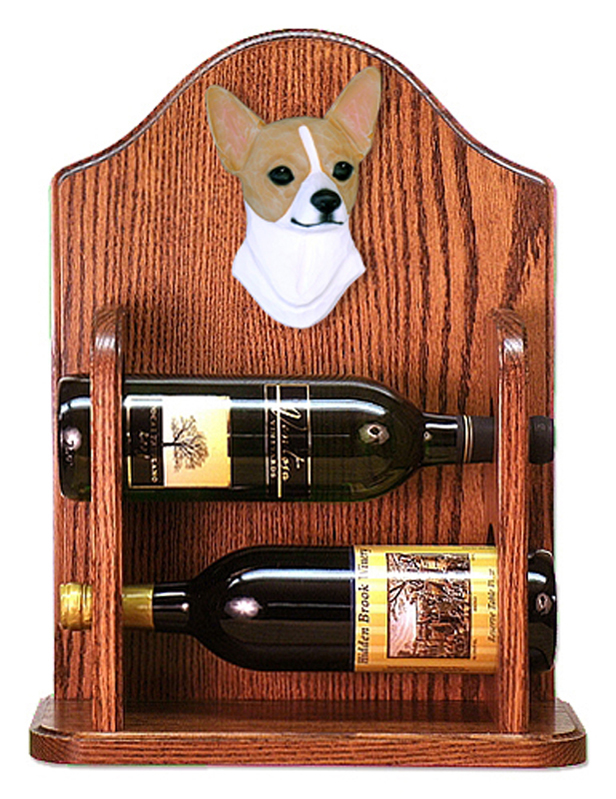 Chihuahua Dog Wood Wine Rack Bottle Holder Figure Fawn/Wht
