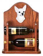 Chihuahua Dog Wood Wine Rack Bottle Holder Figure Wht