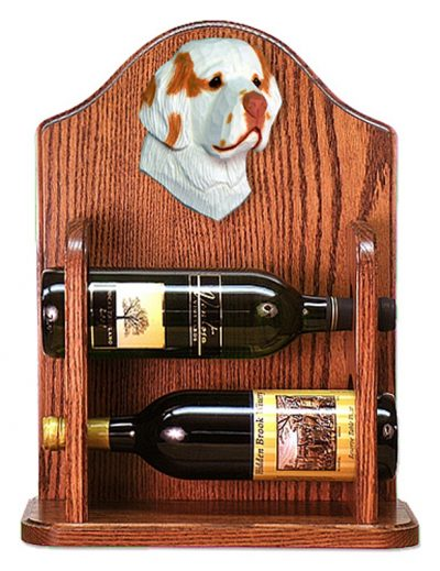 Clumber Spaniel Dog Wood Wine Rack Bottle Holder Figure Orange 1