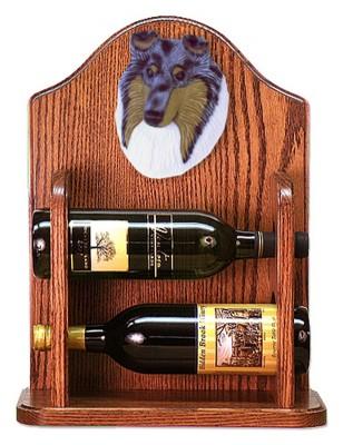 Collie Dog Wood Wine Rack Bottle Holder Figure Blu