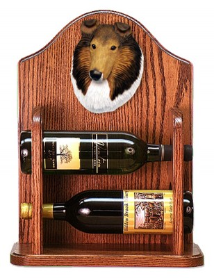 Collie Dog Wood Wine Rack Bottle Holder Figure Sable 1