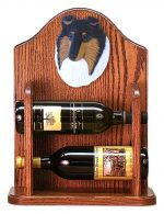 Collie Dog Wood Wine Rack Bottle Holder Figure Tri
