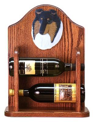 Collie Dog Wood Wine Rack Bottle Holder Figure Tri