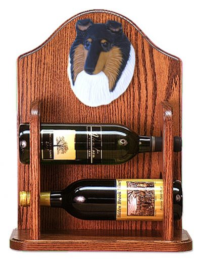 Collie Dog Wood Wine Rack Bottle Holder Figure Tri 1