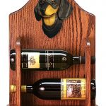 Dachshund Dog Wood Wine Rack Bottle Holder Figure Blk/Tan 1