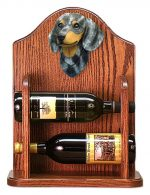 Dachshund Dog Wood Wine Rack Bottle Holder Figure Blu