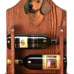 Dachshund Dog Wood Wine Rack Bottle Holder Figure Red 1