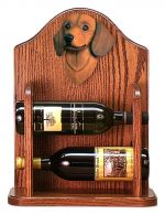 Dachshund Dog Wood Wine Rack Bottle Holder Figure Red