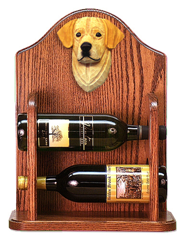 Yellow Lab Dog Wood Wine Rack Bottle Holder Figure