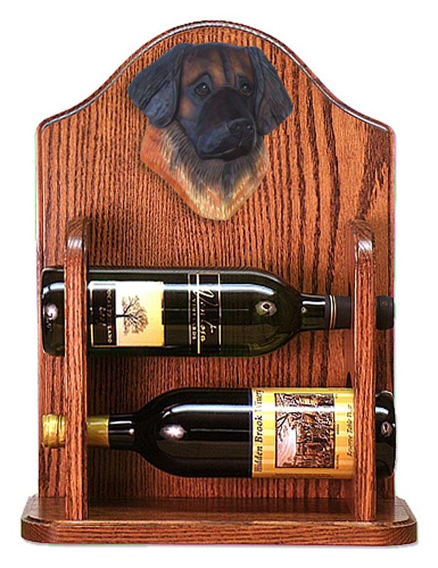 Leonberger Dog Wood Wine Rack Bottle Holder Figure