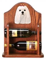 Maltese Dog Wood Wine Rack Bottle Holder Figure
