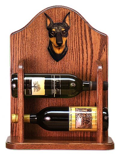 Miniature Pinscher Dog Wood Wine Rack Bottle Holder Figure Blk/Tan 1
