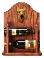 Miniature Pinscher Dog Wood Wine Rack Bottle Holder Figure Red