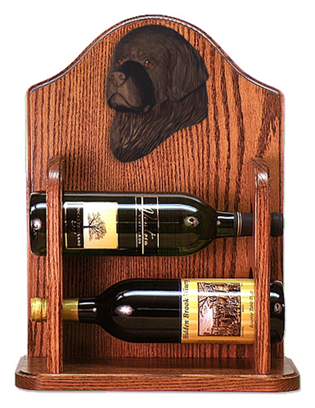 Newfoundland Dog Wood Wine Rack Bottle Holder Figure Blk