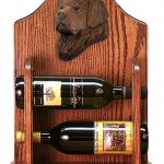 Newfoundland Dog Wood Wine Rack Bottle Holder Figure Brn 1