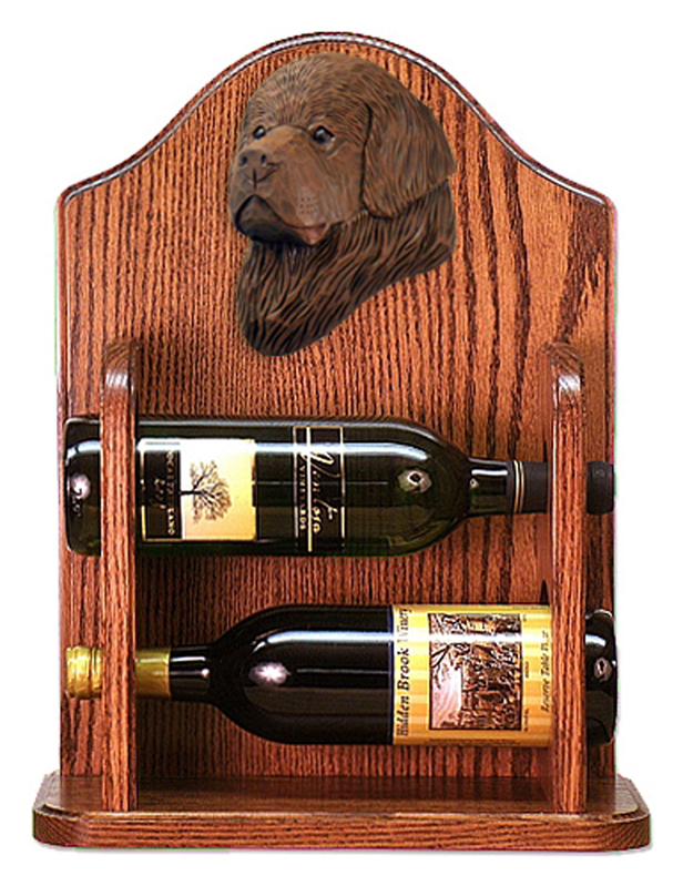 Newfoundland Dog Wood Wine Rack Bottle Holder Figure Brn