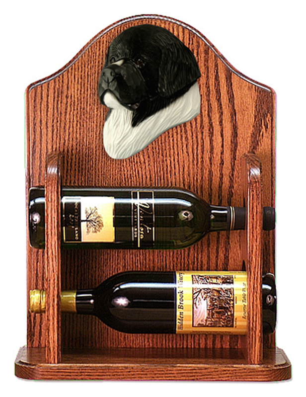 Newfoundland Dog Wood Wine Rack Bottle Holder Figure Landseer