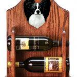 Papillon Dog Wood Wine Rack Bottle Holder Figure Blk/Wht 1