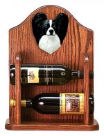 Papillon Dog Wood Wine Rack Bottle Holder Figure Blk/Wht