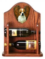 Papillon Dog Wood Wine Rack Bottle Holder Figure Brn/Wht