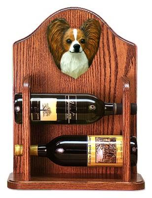 Papillon Dog Wood Wine Rack Bottle Holder Figure Brn/Wht 1