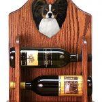 Papillon Dog Wood Wine Rack Bottle Holder Figure Tri 1