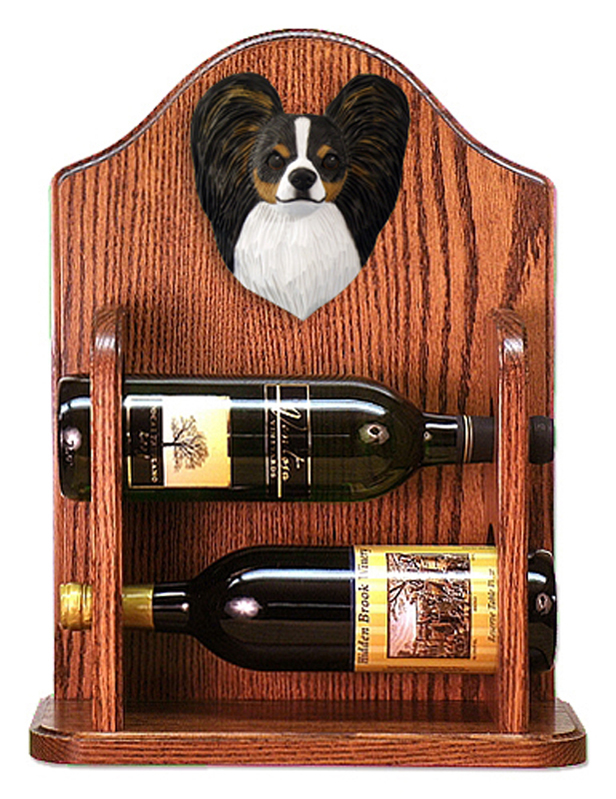 Papillon Dog Wood Wine Rack Bottle Holder Figure Tri