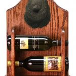 Pomeranian Dog Wood Wine Rack Bottle Holder Figure Blk 1