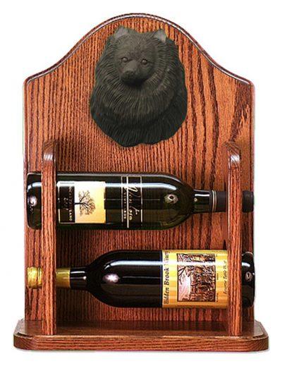 Pomeranian Dog Wood Wine Rack Bottle Holder Figure Blk 1