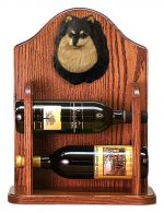 Pomeranian Dog Wood Wine Rack Bottle Holder Figure Blk/Tan