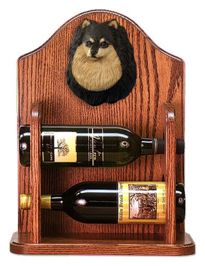Pomeranian Dog Wood Wine Rack Bottle Holder Figure Blk/Tan 1