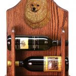 Pomeranian Dog Wood Wine Rack Bottle Holder Figure Orange 1