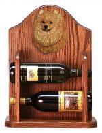 Pomeranian Dog Wood Wine Rack Bottle Holder Figure Orange