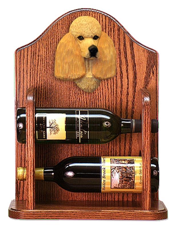 Poodle Dog Wood Wine Rack Bottle Holder Figure Apricot