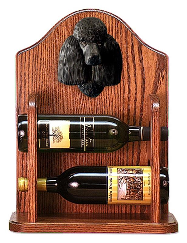 Poodle Dog Wood Wine Rack Bottle Holder Figure Blk