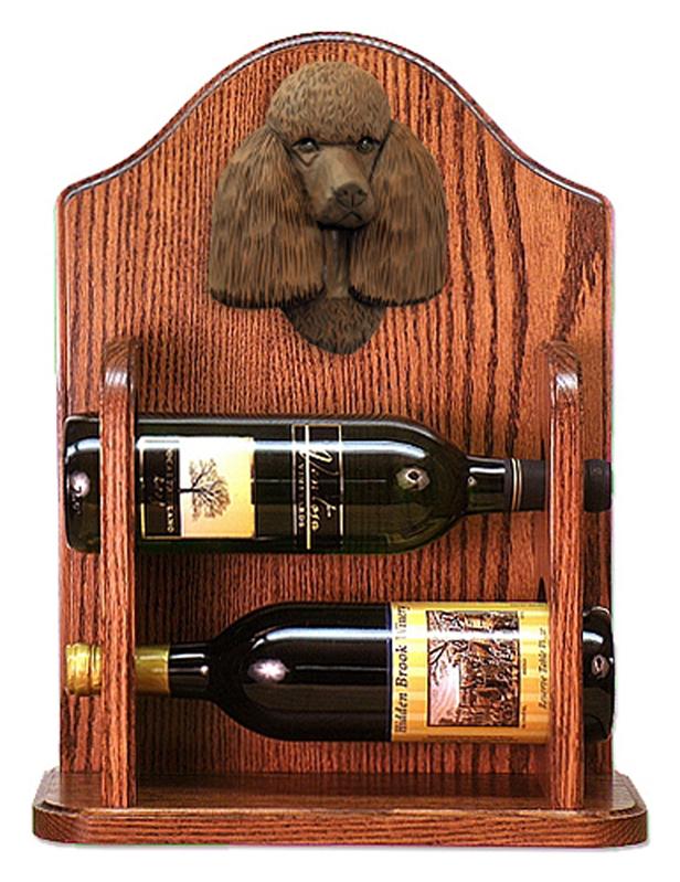 Poodle Dog Wood Wine Rack Bottle Holder Figure Brn